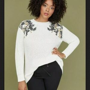 Lane Bryant Ivory Sweater With Sequins A53